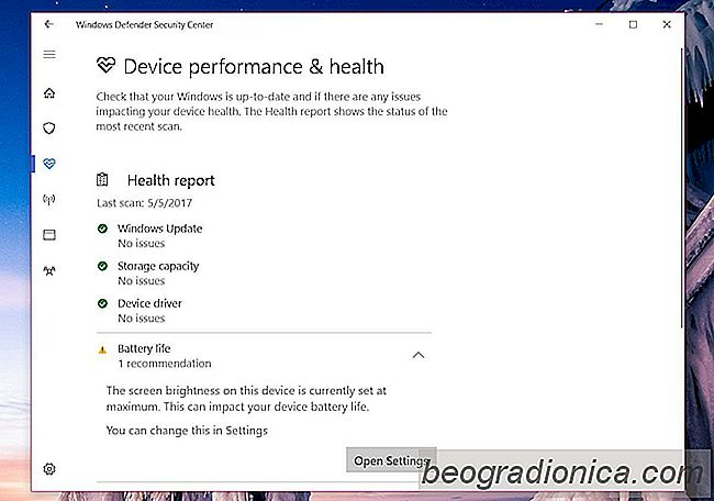 Comment réparer l'erreur maximale de batterie de l'écran dans Windows Defender Health Report